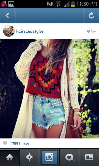 leather bag shirt tribal pattern shirt nitted cartigan studded shorts