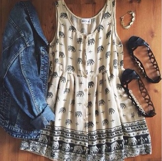 dress hipster tumblr tumblr outfit cute dress elephant indie boho boho chic hippie