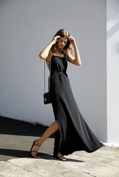 Dress Tumblr Maxi Dress Black Long Dresses Long Dress Slit