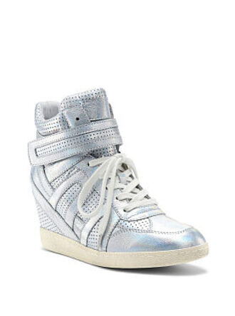 shoes wedge sneakers high top sneakers holographic silver