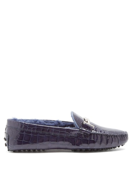 TOD'S loafers leather dark blue dark blue shoes