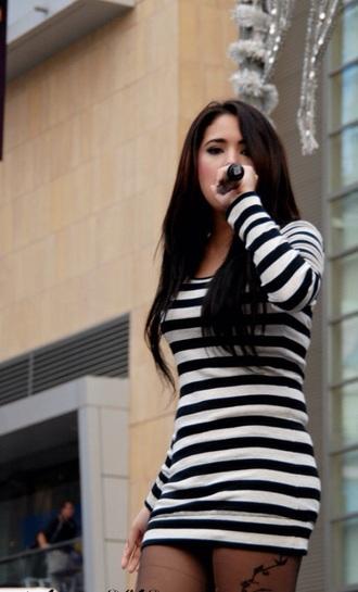 dress stripes striped dress black and white dress black and white long sleeve dress long sleeves jasmine villegas short dress