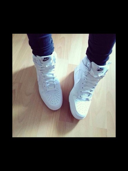 shoes white wedges nike air force 1