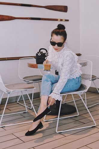 hallie daily blogger top jeans bag sunglasses shoes ballet flats blouse white blouse handbag dior bag