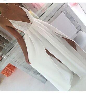 dress maxi white lace v neck backless spagetti staps dresses slit