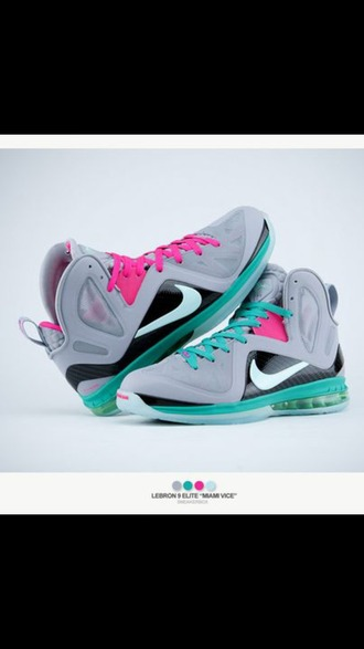 shoes lebrons south beach 9 pink gray turquoise sneakers