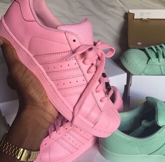 shoes adidas adidas superstars pink yellow