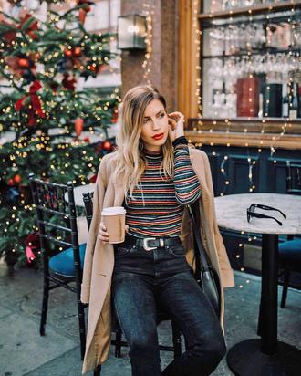 top tumblr turtleneck striped turtleneck coat camel camel coat denim jeans black jeans striped top