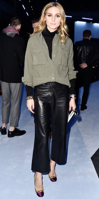shirt olivia palermo blogger pumps fashion week 2016 paris fashion week 2016 leather pants pants leather culottes culottes black pants turtleneck black top high heels