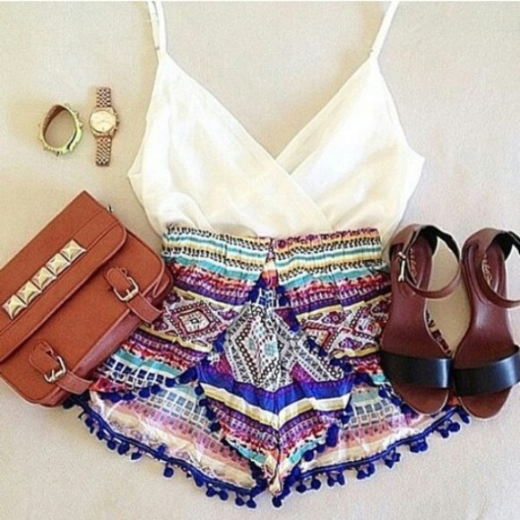 cream shorts aztec colorful crop tops sandals