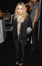 scarf,sandals,mary kate olsen,olsen sisters,leather pants