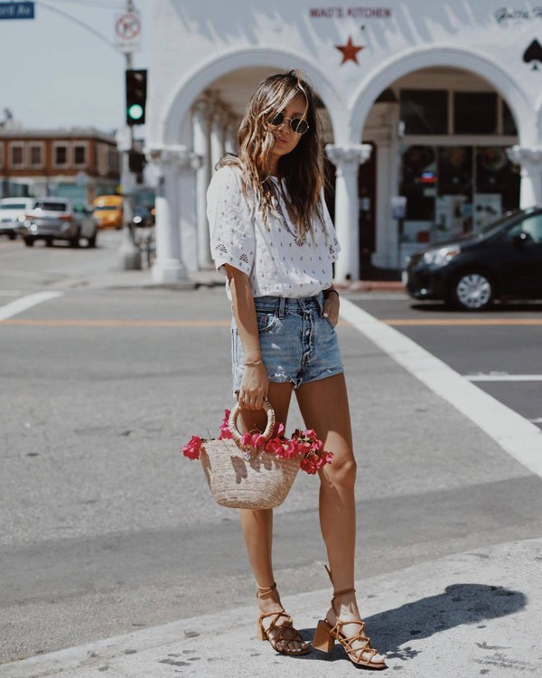 029e470ebc9 top white top shorts sunglasses tumblr denim denim shorts sandals mid heel  sandals bag mini bag.