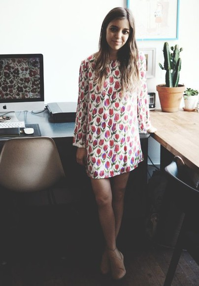 long sleeve dress roses shift dress