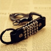 jewels,studded leather key chain ring