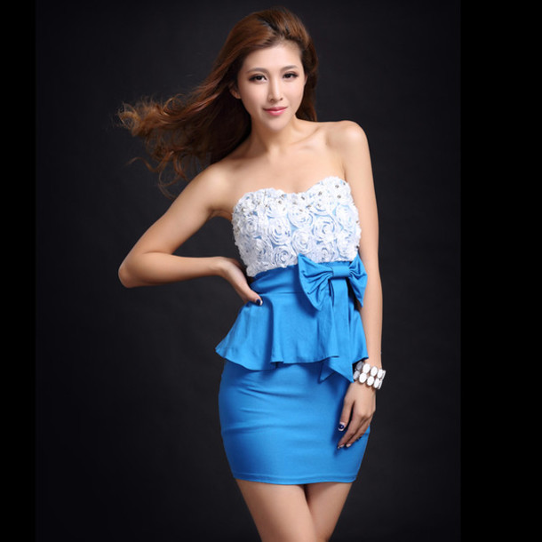 dress dress sexy bqueen lace strapless blue chic halter neck v neck party clothes event blue dress celebrity style ustrendy