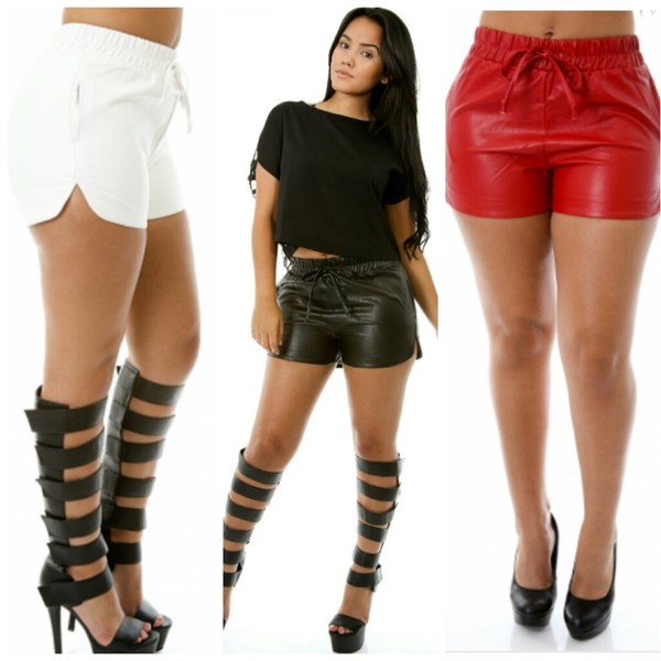 red shorts faux leather