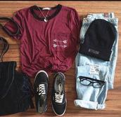 shirt,t-shirt,light wash jeans,light washed ripped jeans,blue jeans,ripped jeans,knit black beanie,vans,black vans,yin yang,black sunglasses,striped top,black backpack