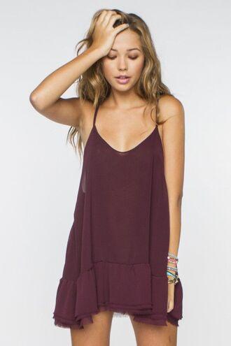 dress sundress burgundy flowy summer burgundy dress