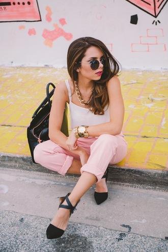 nany's klozet jeans shoes t-shirt jewels bag sunglasses pink jeans