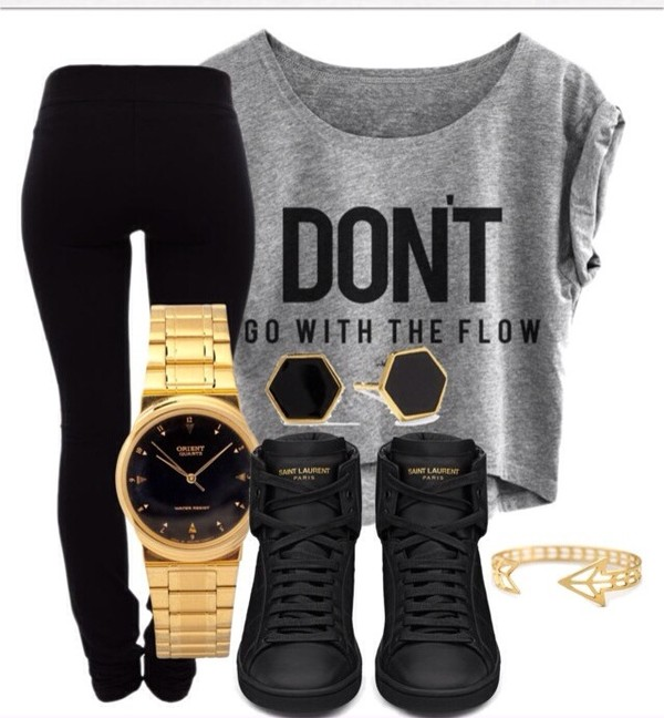 shirt dope shoes jewels sunglasses blouse pants top don't go with the flow grey crop tops black leggings