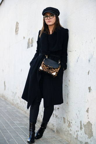 lovely pepa blogger bag black coat fisherman cap glasses