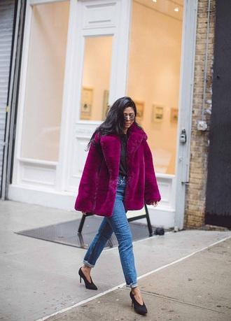jacket purple jacket purple fur jacket jeans blue jeans denim shoes black heels heels sunglasses