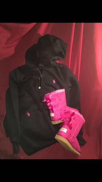 jumpsuit ugg boots pink and black polo sweatsuit pink uggs with bows polo sweater polo sweat pants ralph lauren polo high school cute pink black