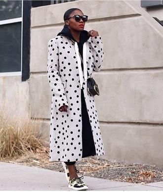 coat grey coat printed coat long coat polka dots sunglasses sneakers bag