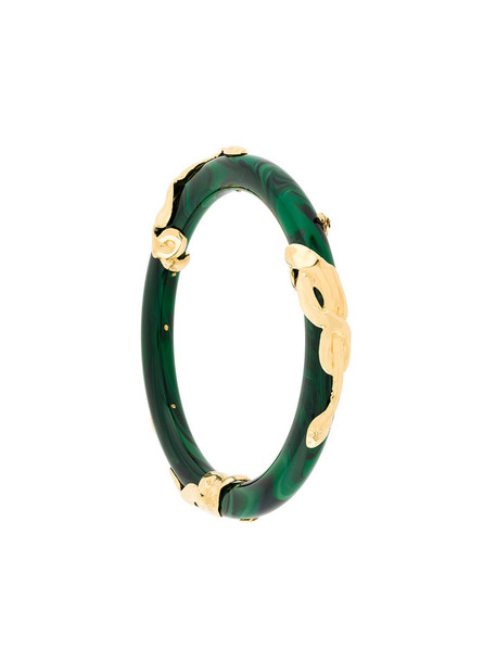 women gold green jewels