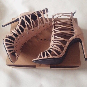 shoes zara lace up nude pink heels cage heels dusty pink zara shoes lace up heels strappy heels