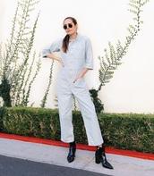 jumpsuit,cropped jumpsuit,grey jumpsuit,sunglasses,boots,black boots,long sleeves,ankle boots
