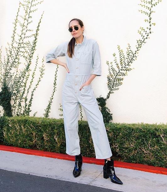 jumpsuit cropped jumpsuit grey jumpsuit sunglasses boots black boots long sleeves ankle boots