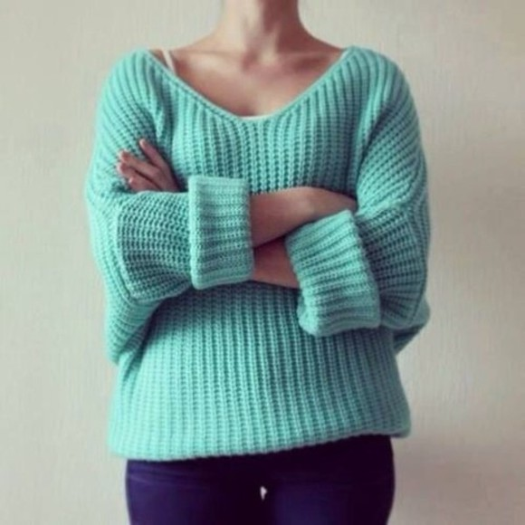 sweater blue blue sweater cute oversized sweater