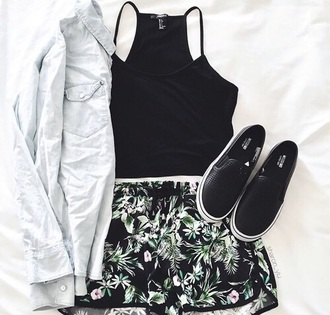 shoes halter top grunge jean jacket flowered shorts vans sneakers