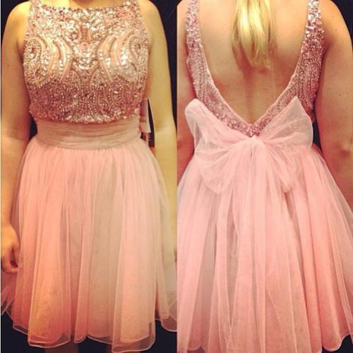 Discount 2014 New Arrival Pink Sleeveless Crystal A-Line Bow Backless Short Homecoming Dresses Custom Made Mini Evening Party Dresses Plus Size Online with $97.39/Piece | DHgate