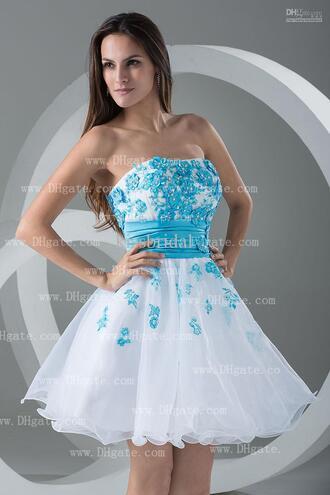 dress belt strapless trendy hot prom dress short party dresses short prom dress white dress blue flowers blue prom dress neon blue flowers beautiful