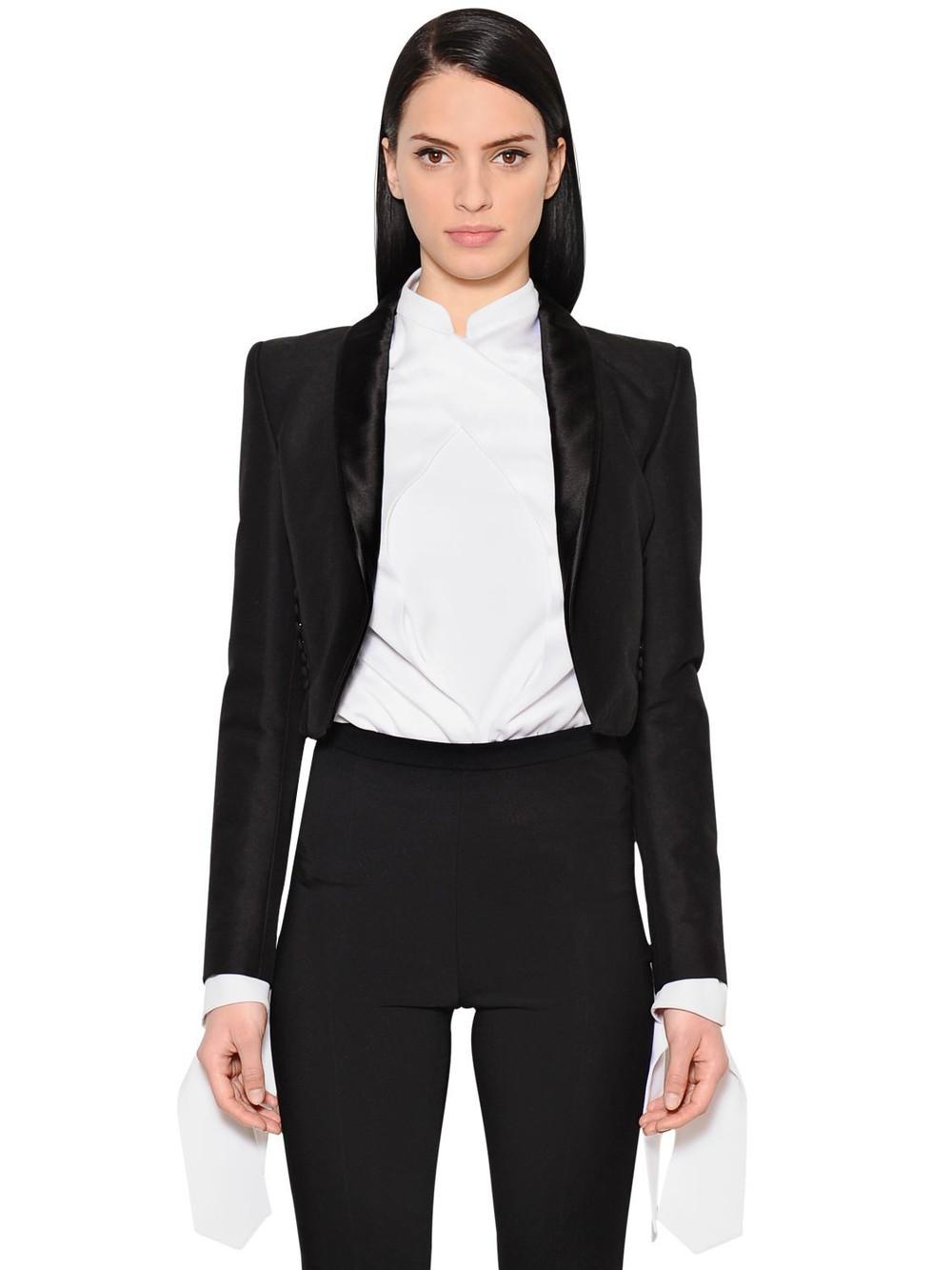 ANTONIO BERARDI Cropped Cotton & Wool Blend Jacket in black