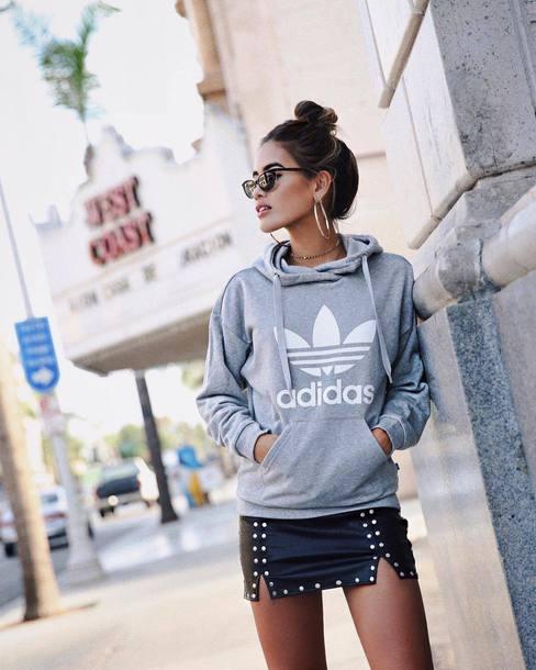 skirt tumblr mini skirt leather skirt black leather skirt adidas hoodie grey hoodie