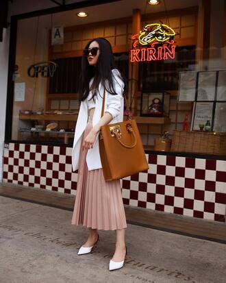 skirt shoes tumblr midi skirt pleated pleated skirt bag blazer white blazer