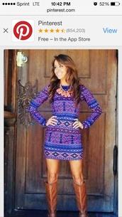 dress,blue,long sleeves,tribal pattern