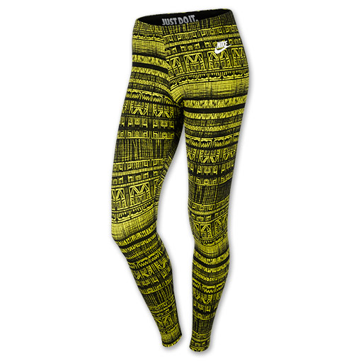 Women's Nike Leg-A-See Leggings | FinishLine.com | Venom Green/White