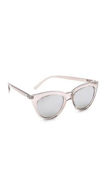 Le Specs Half Moon Magic Sunglasses - Stone/Smoke Mono Silver Mirror