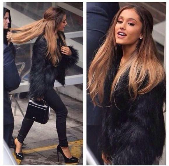 black coat jacket black jacket fur coat fur jacket faux fur faux fur coat faux fur jackey ariana grande black coat faux leather coat winter outfits bustier prada ariana grande outfit