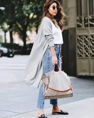coat grey cardigan tumblr top white top denim jeans blue jeans bag shoes mules