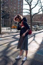 zanita,blogger,jacket,skirt,shoes,bag,t-shirt,jeans,pleated skirt,midi skirt,metallic shoes,spring outfits