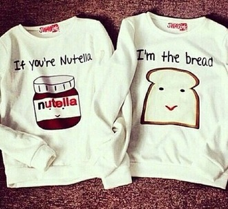 sweater white sweater nutella bread