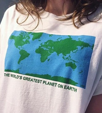 t-shirt world green blue white girl earth science shirt