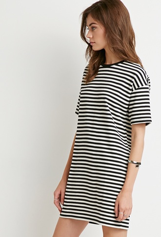 dress t-shirt dress striped dress black and white dress