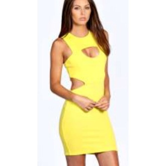 dress yellow cut-out bodycon short dress holes party bright yellow dress bodycon dress short dresses going out