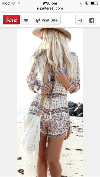 jumpsuit boho play suit felt hat ankle boots floral neutral beige brown beach fashion playsuits romper pattern summer fashion inspo style tan